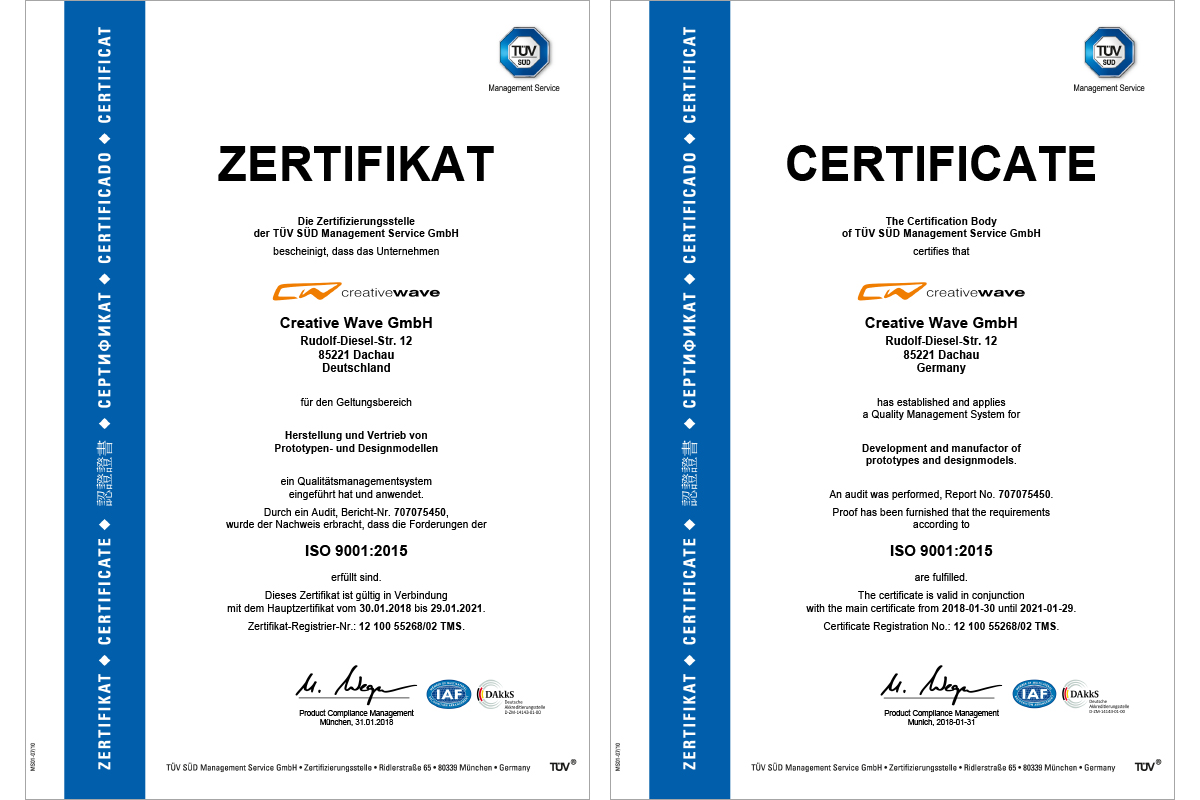 Certificate ISO 9001:2015 Creative Wave