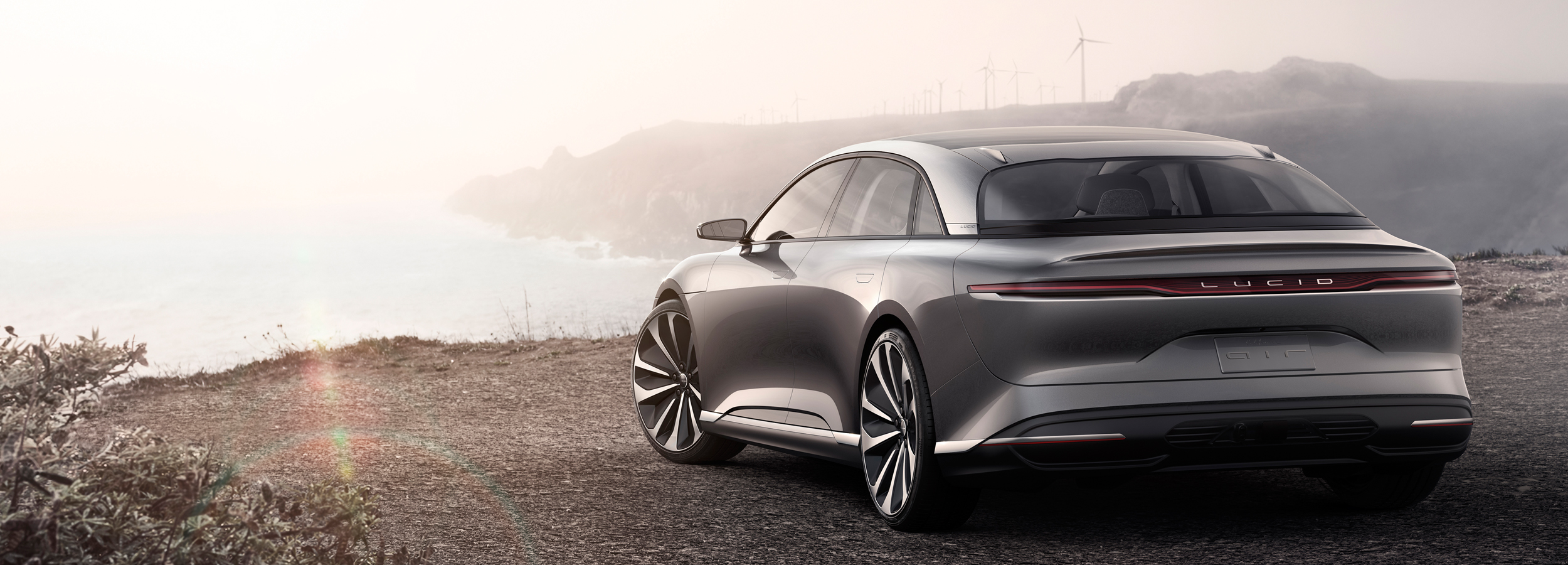 Lucid Air Silver back Showcar Creative Wave