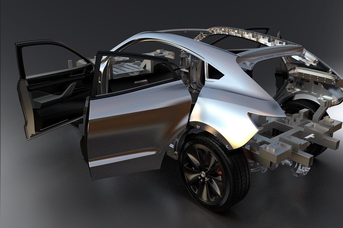 Prototype car open doors Creative Wave