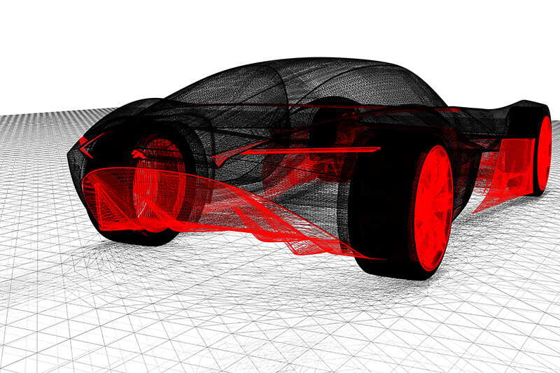 Visualisation VRED exterior rear wireframe  Creative Wave